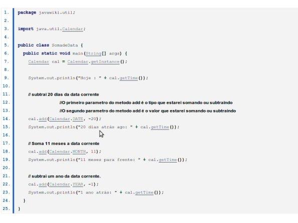 Somar e Substrair datas em Java